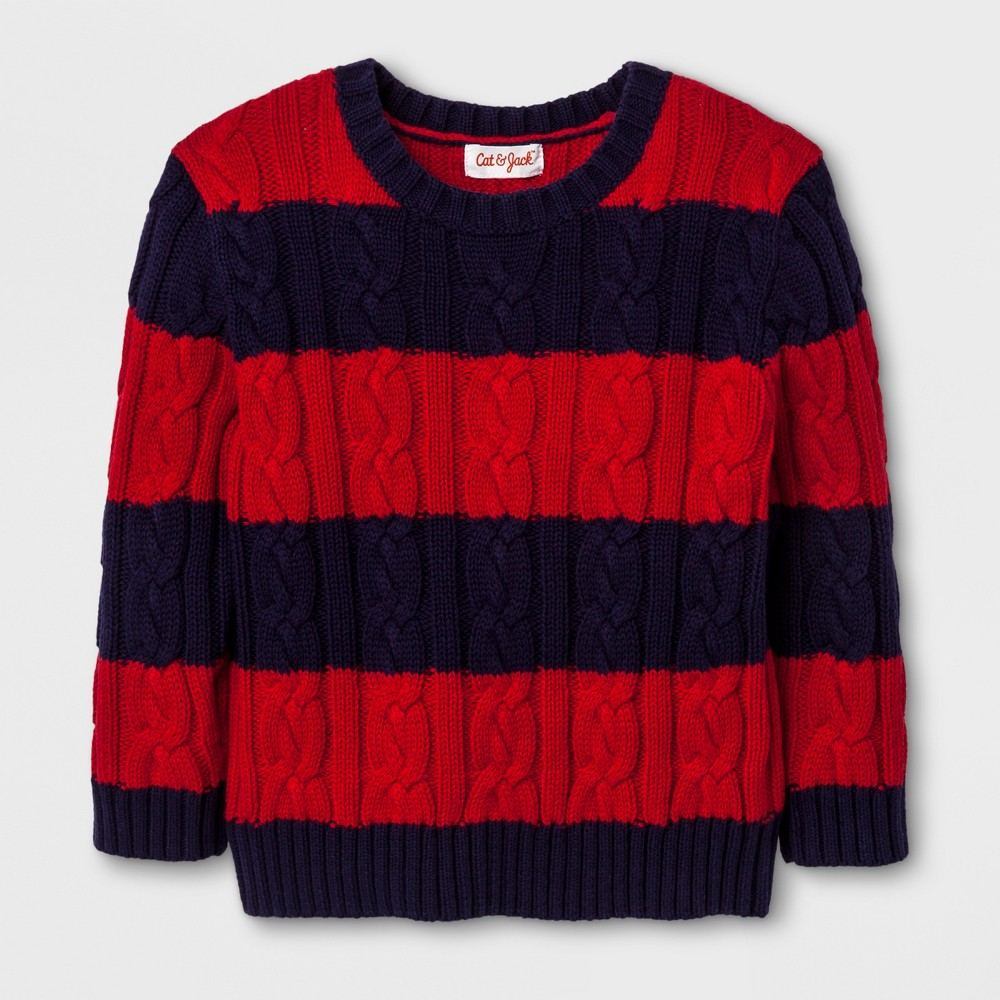 Toddler Boys Crew Neck Cable Stripe Pullover - Cat & Jack Stately Blue 3T