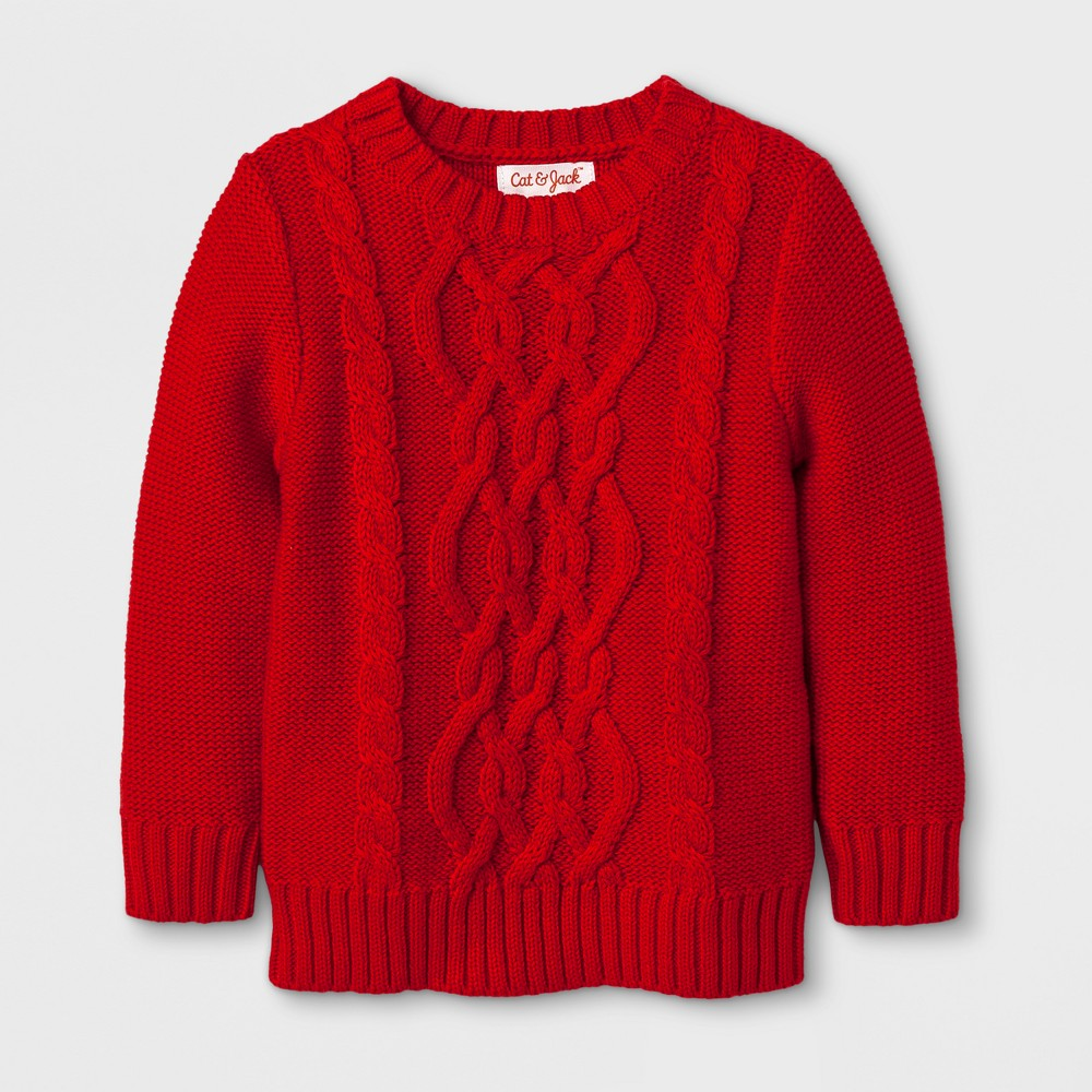 Toddler Girls Crew Neck Pullover Sweater - Cat & Jack Wowzer Red 4T