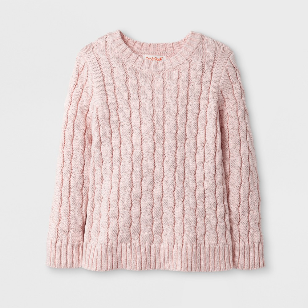 Toddler Girls' Crew Neck Pullover Sweater - Cat & Jack Casual Pink 5T
