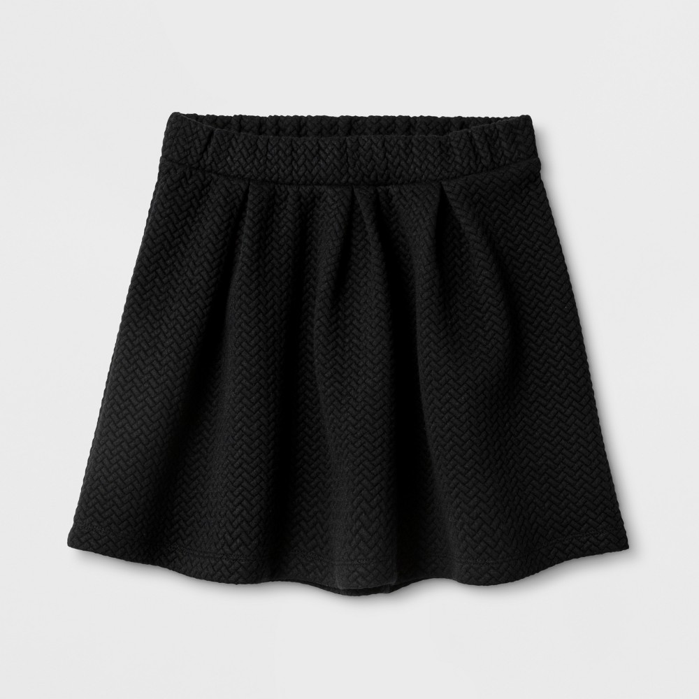 Girls' A-Line Skirts - Cat & Jack Black S, Size: S (6-6X) Find Skirts at Target.com! Getting your girl ready in the morning will be so much easier when she has the Knit Jacquard Circle A-Line Skirt from Cat and Jack in her closet. This simple circle skirt pairs well with anything from tees and sneakers to blouses and Mary Janes, making it a versatile addition to her wardrobe. With this jacquard skirt as part of her clothing options, she'll be able to create great outfits in no time and be out the door in a flash on busy school mornings. Size: S (6-6X). Color: Black. Gender: Female. Age Group: Kids. Pattern: Solid. Material: Polyester.