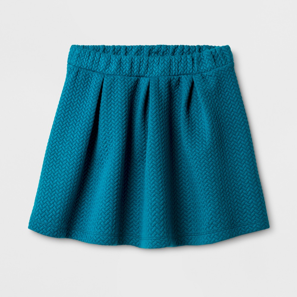 Girls Knit Jacquard Circle A Line Skirt - Cat & Jack Fiji Teal L, Size: L(10-12)