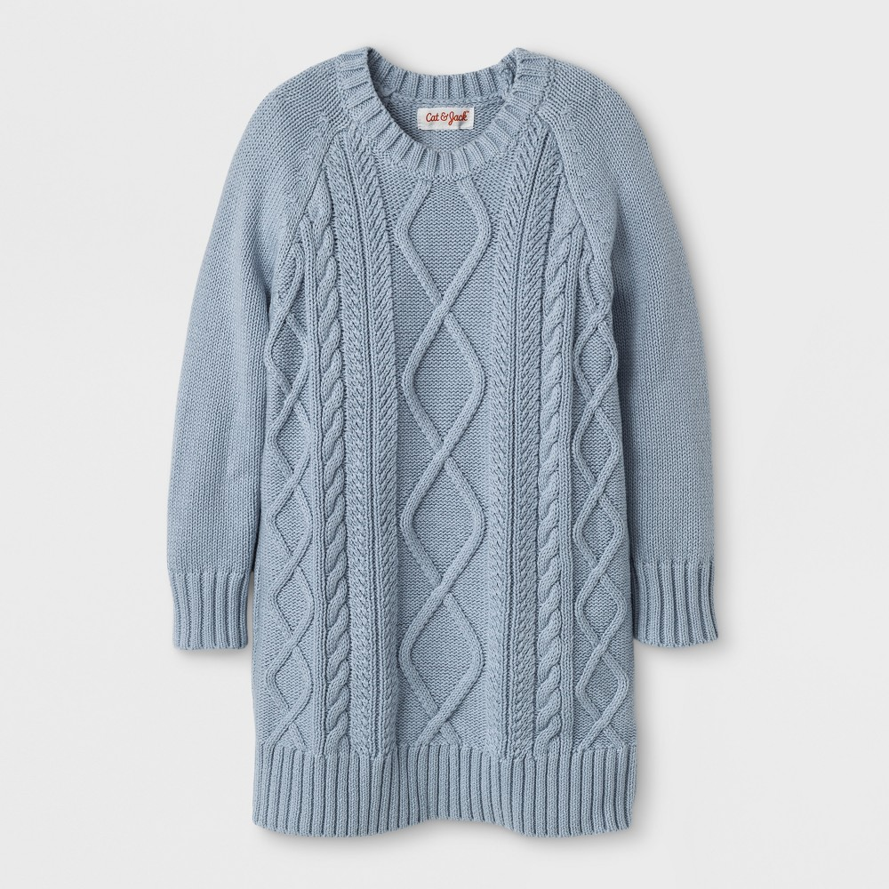 Toddler Girls Crew Neck Cable Sweater Dress - Cat & Jack Gray Sky 2T, Blue