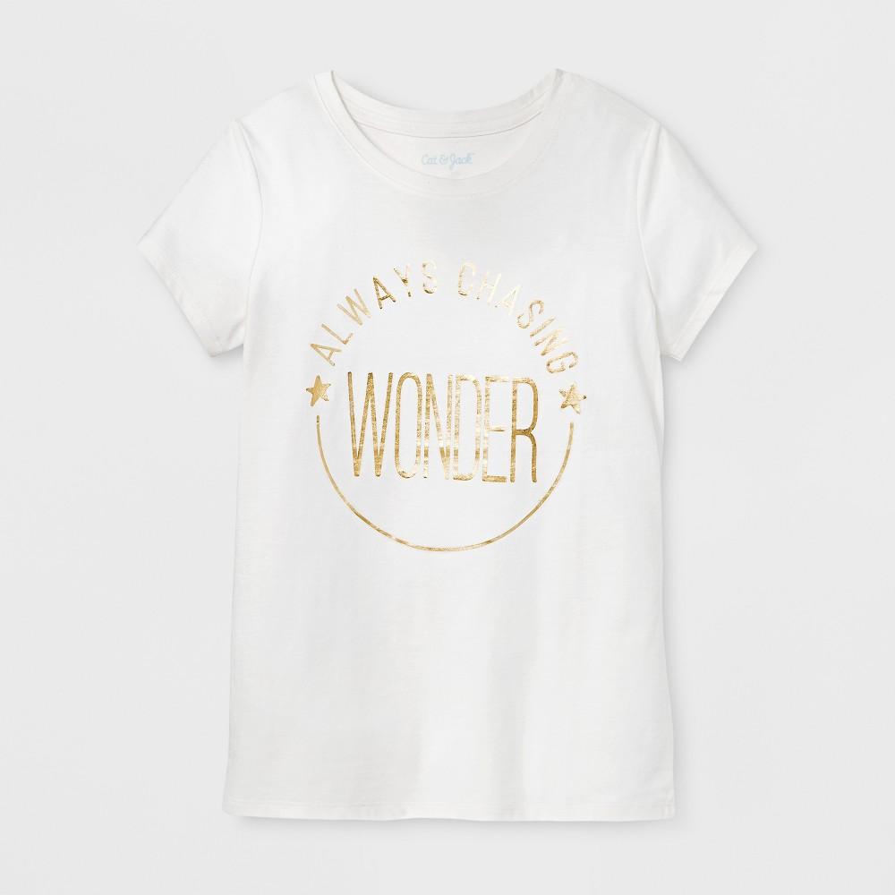 Girls Short Sleeve Chasing Wonder Graphic T-Shirt - Cat & Jack Cream S, White