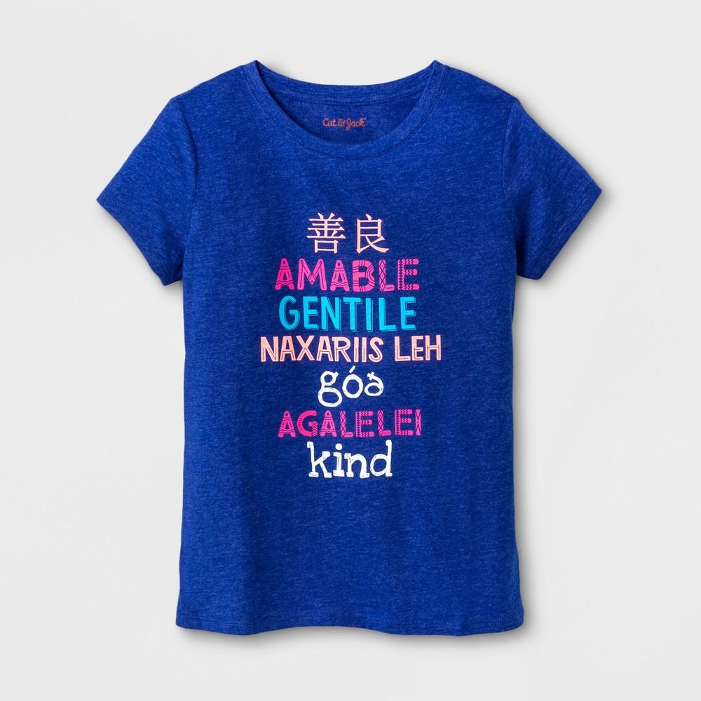 Girls Short Sleeve Kind Graphic T-Shirt - Cat & Jack Blue XL