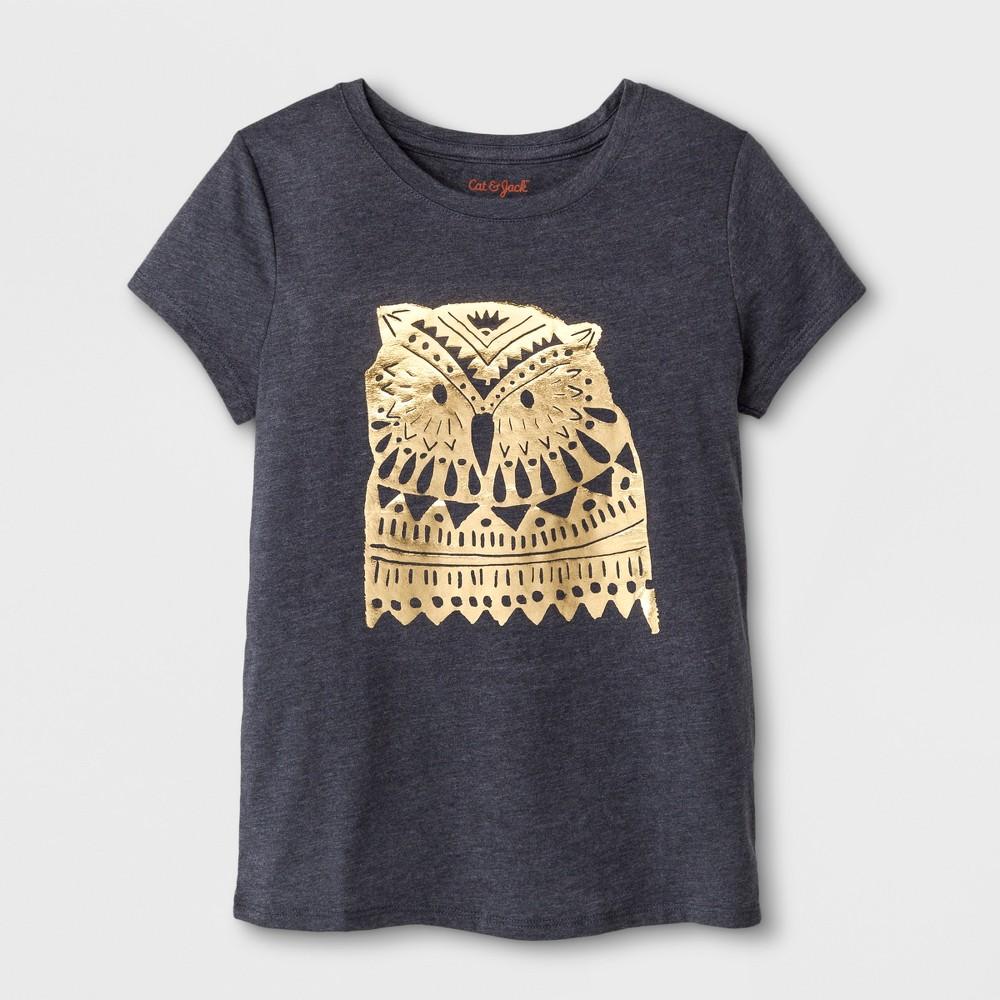 Girls Short Sleeve Owl Graphic T-Shirt - Cat & Jack Dark Gray M
