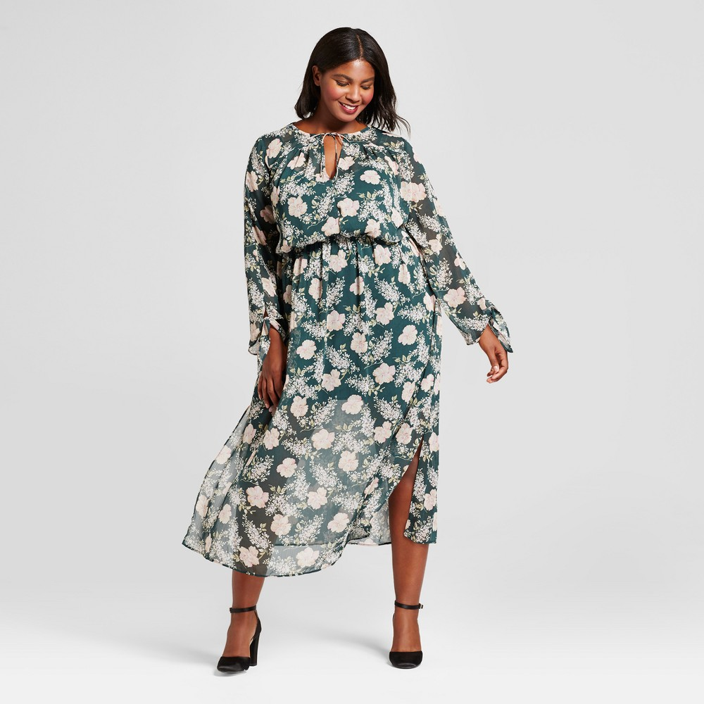 Womens Plus Size Floral Maxi Dress - A New Day Green 3X