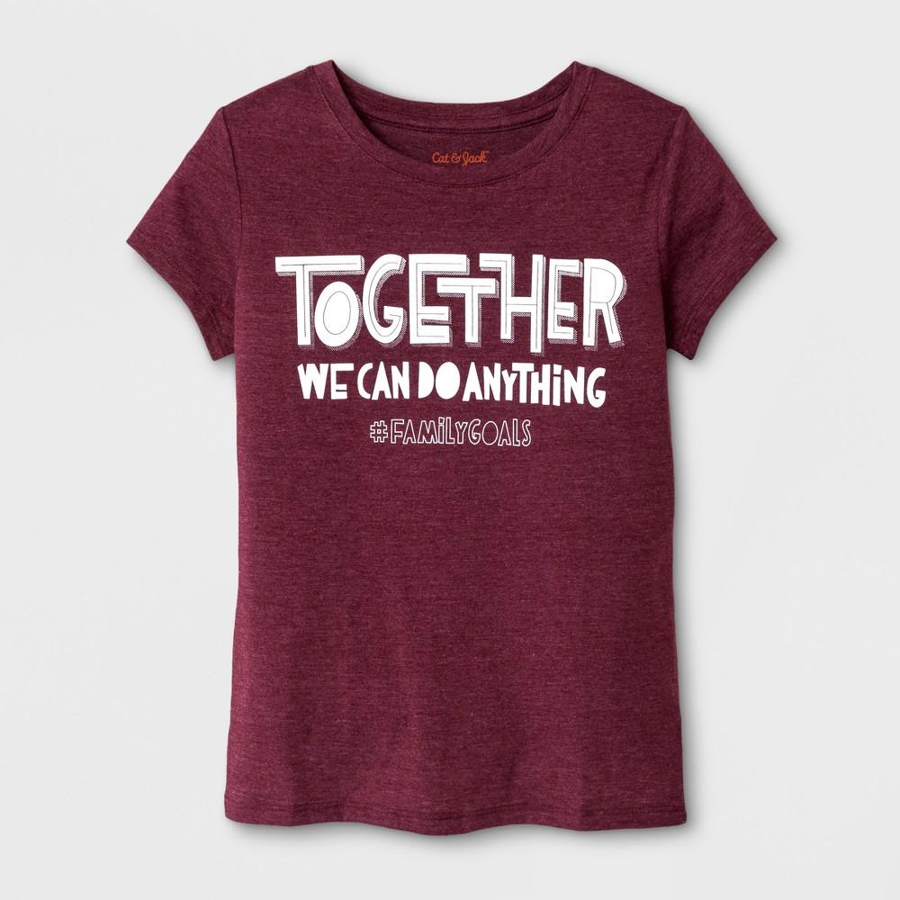Girls Short Sleeve Family Goals Graphic T-Shirt - Cat & Jack Burgundy S, Red