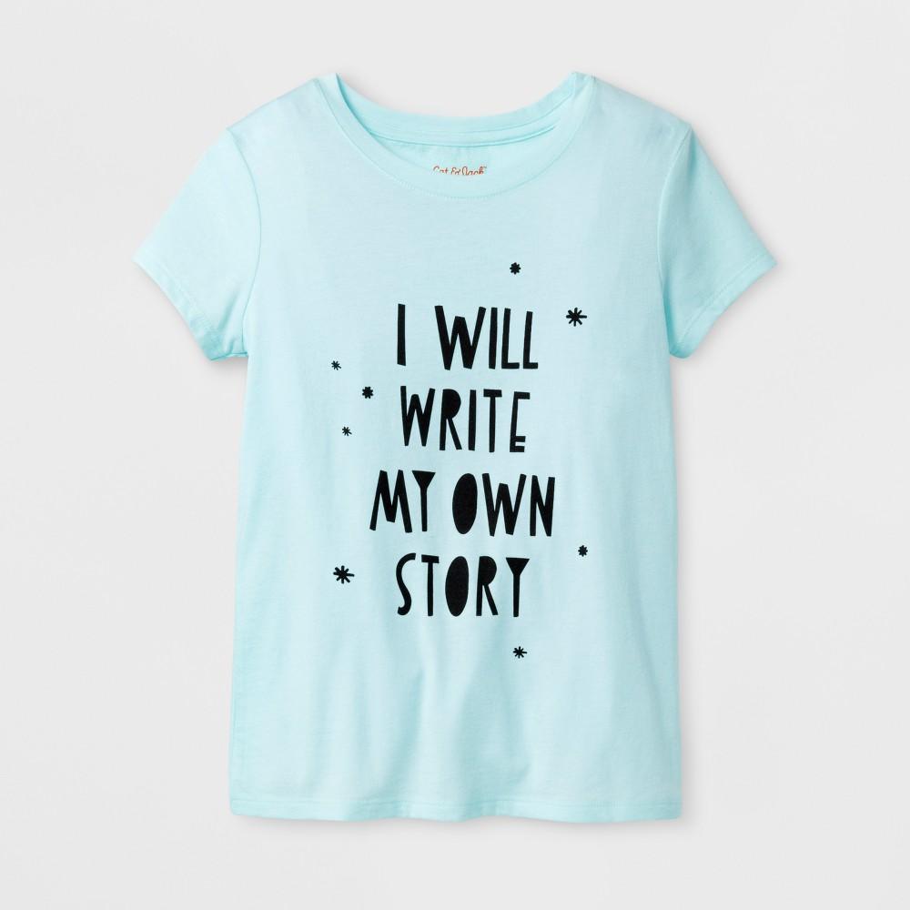 Girls Short Sleeve Write My Own Story Graphic T-Shirt - Cat & Jack Aqua L, Green