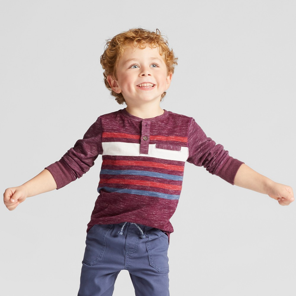 Toddler Boys Long Sleeve Henley Shirt - Genuine Kids from OshKosh Heather Red 2T, Purple