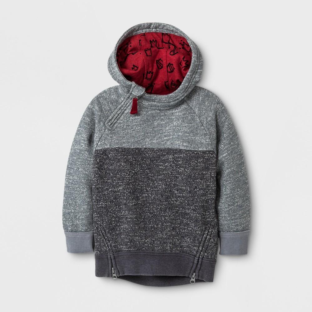 Toddler Boys Hi-Lo Texture Hoodie Sweatshirt - Genuine Kids from OshKosh Gray 18M