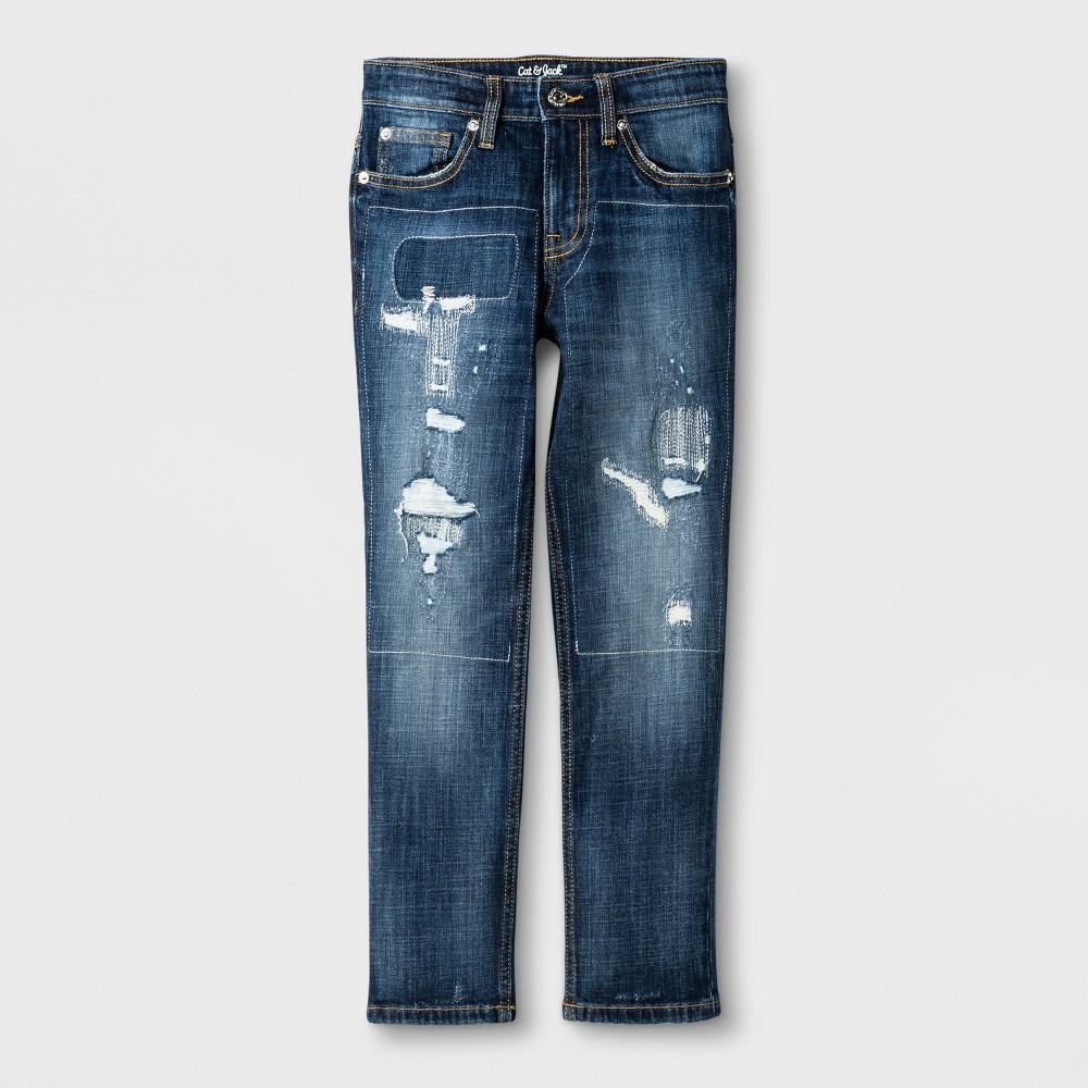Boys Taper Fit Jeans - Cat & Jack Blue 16, Size: 8