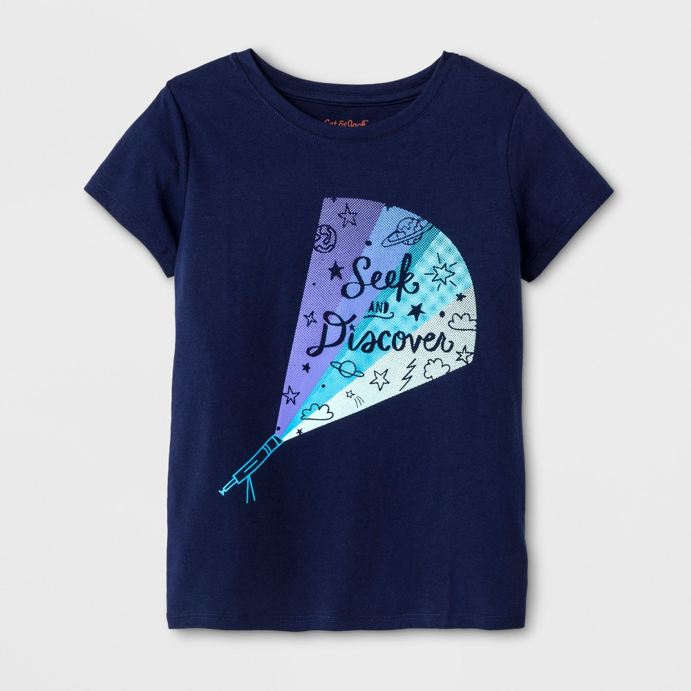 Girls Short Sleeve Seek and Discover Graphic T-Shirt - Cat & Jack Navy XL, Blue