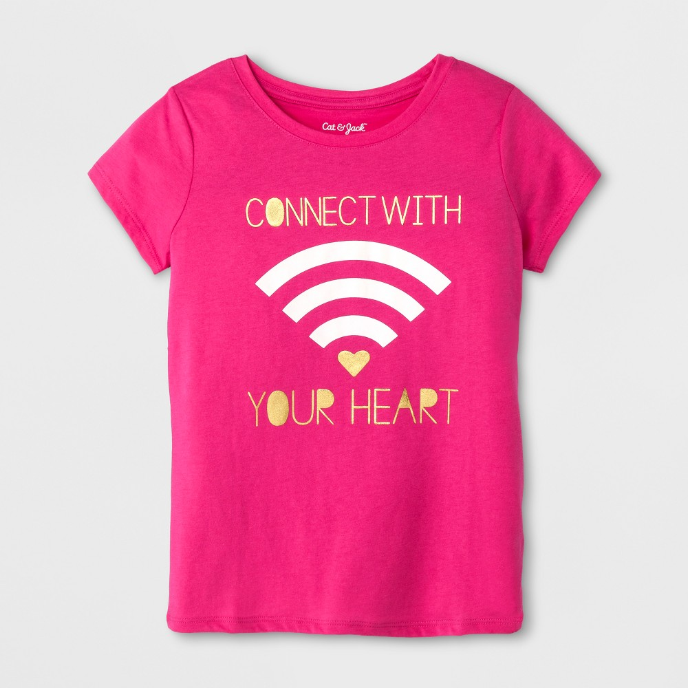 Girls Short Sleeve Connect with Your Heart Graphic T-Shirt - Cat & Jack Pink XL
