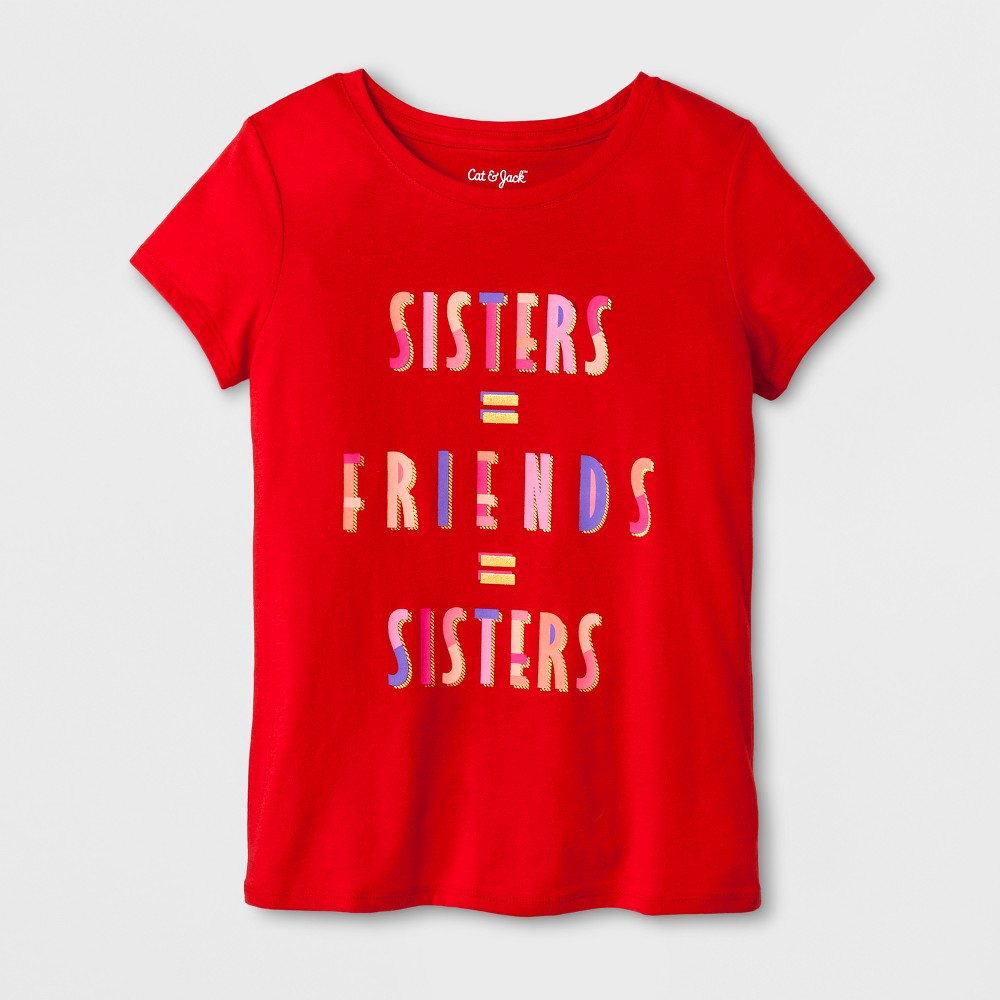 Girls Short Sleeve Sisters Graphic T-Shirt - Cat & Jack Red S