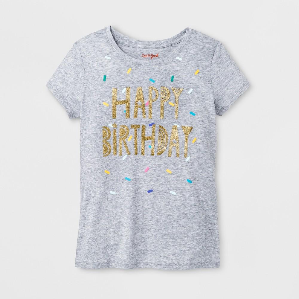 Girls Short Sleeve Happy Birthday Graphic T-Shirt - Cat & Jack Heather Gray M