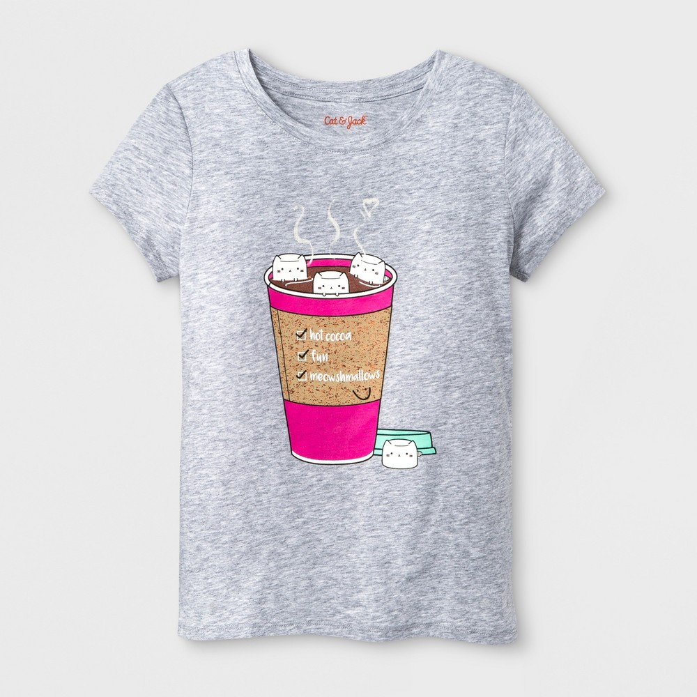Girls' Short Sleeve Hot Cocoa Graphic T-Shirt - Cat & Jack Heather Gray M