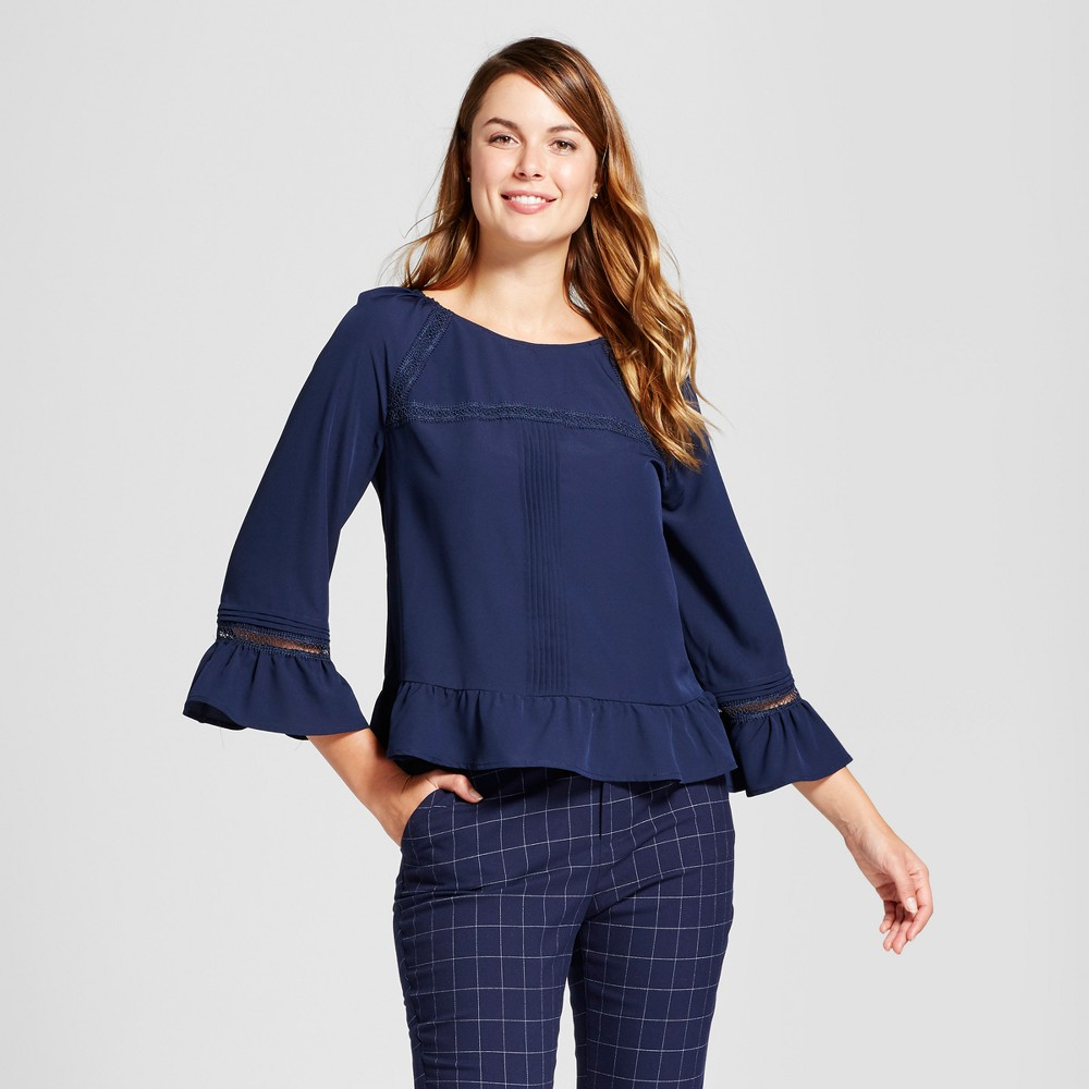 Womens Pintuck Tiered Ruffle Blouse - A New Day Navy (Blue) M