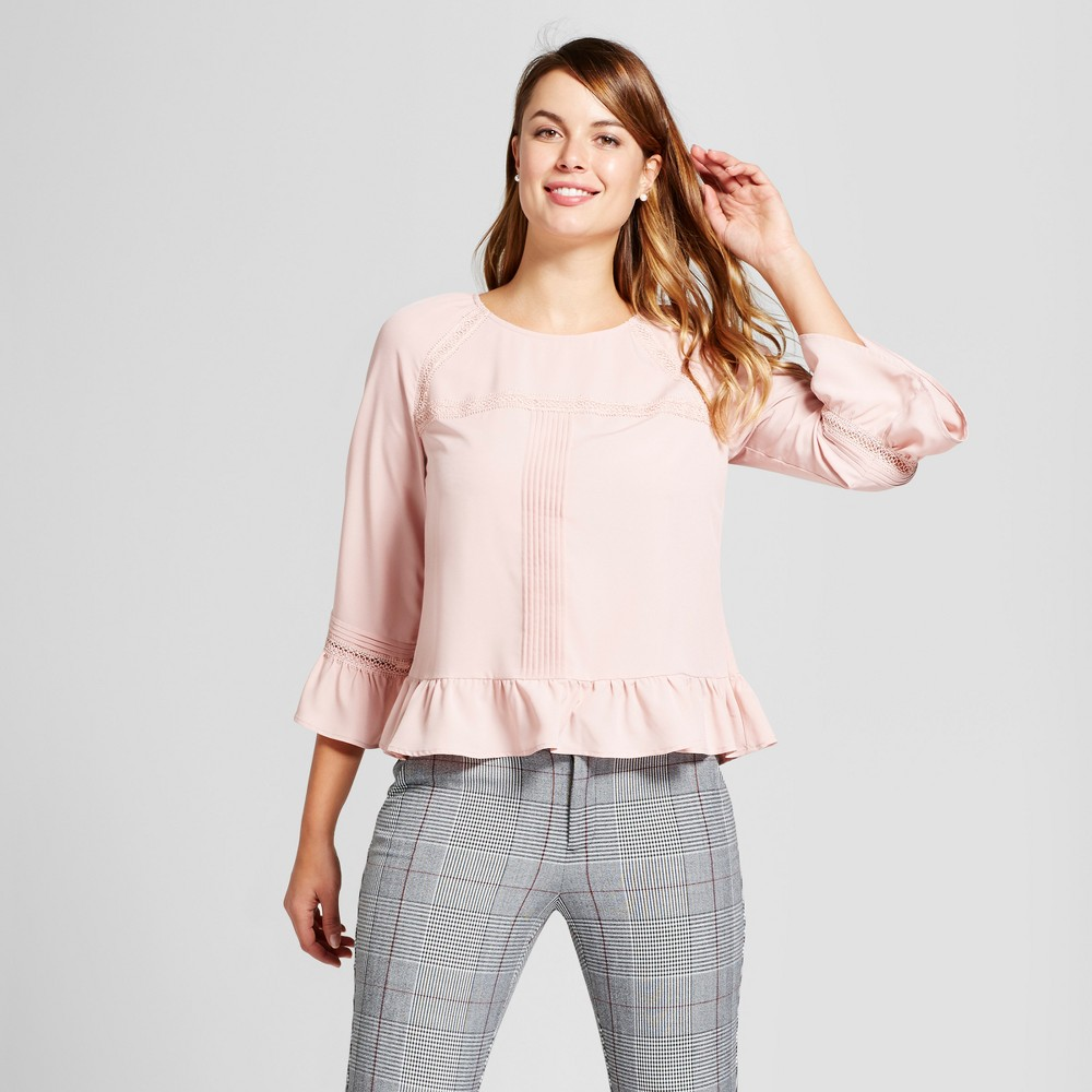 Womens Pintuck Tiered Ruffle Blouse - A New Day Pink L