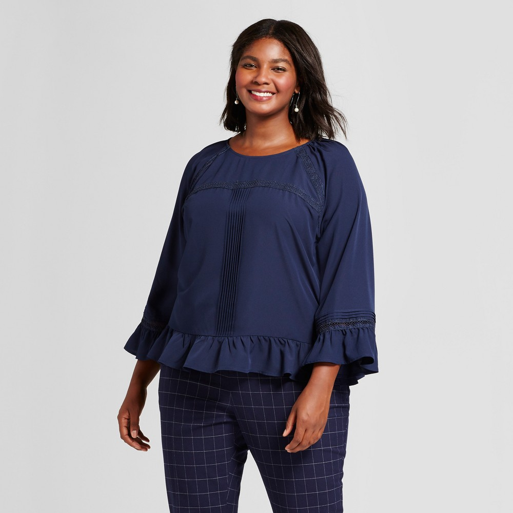 Womens Plus Size Feminine Ruffle Blouse - A New Day Navy (Blue) 3X
