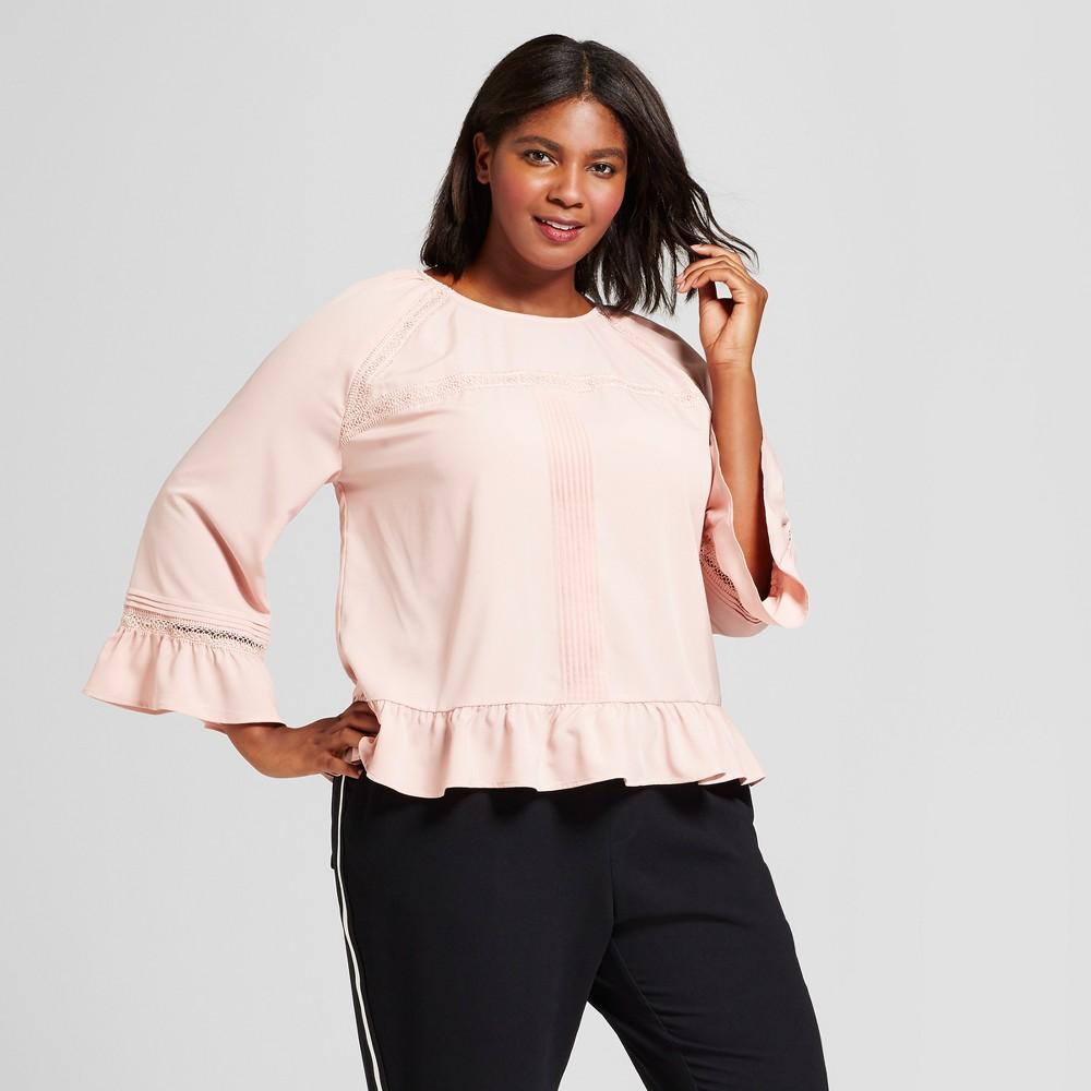 Womens Plus Size Feminine Ruffle Blouse - A New Day Smoked Pink 2X