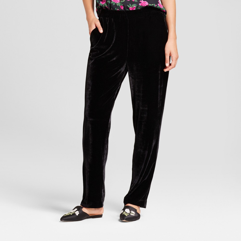 Womens Velvet Jogger Pants - Who What Wear Black M