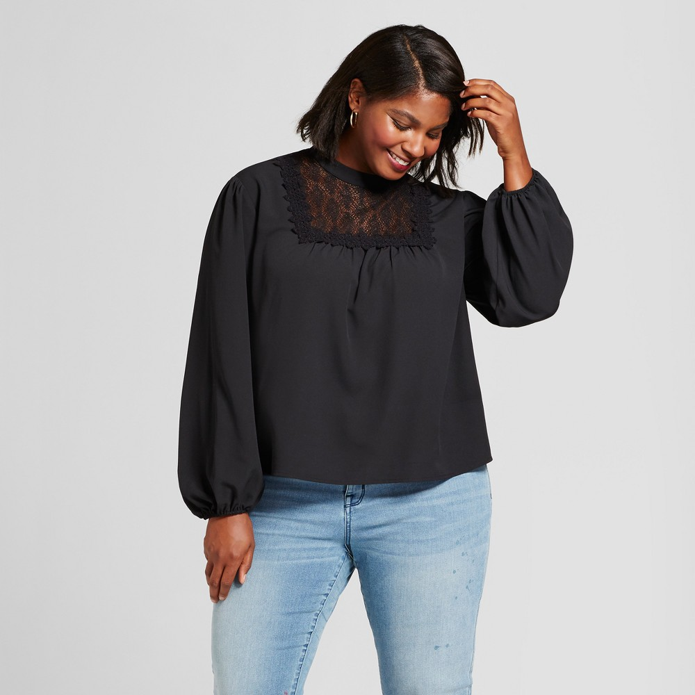 Womens Plus Size Feminine Blouse with Lace Detail - A New Day Black X