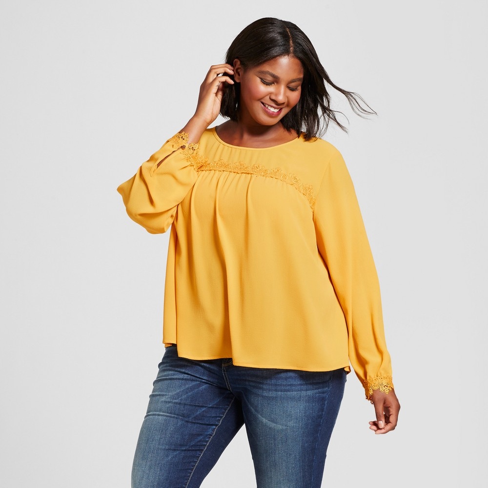 Womens Plus Size Feminine Blouse with Smocked Sleeve - A New Day Gold 4X, Purple