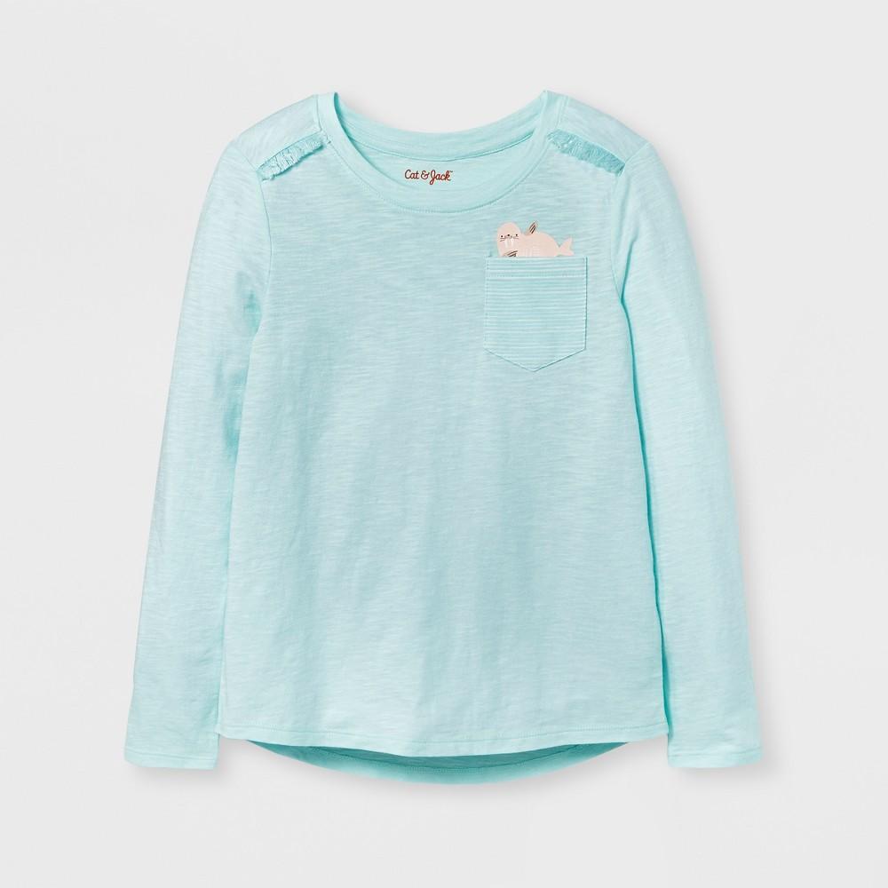 Girls' Long Sleeve Walrus Print Pocket T-Shirt - Cat & Jack Aqua S, Green