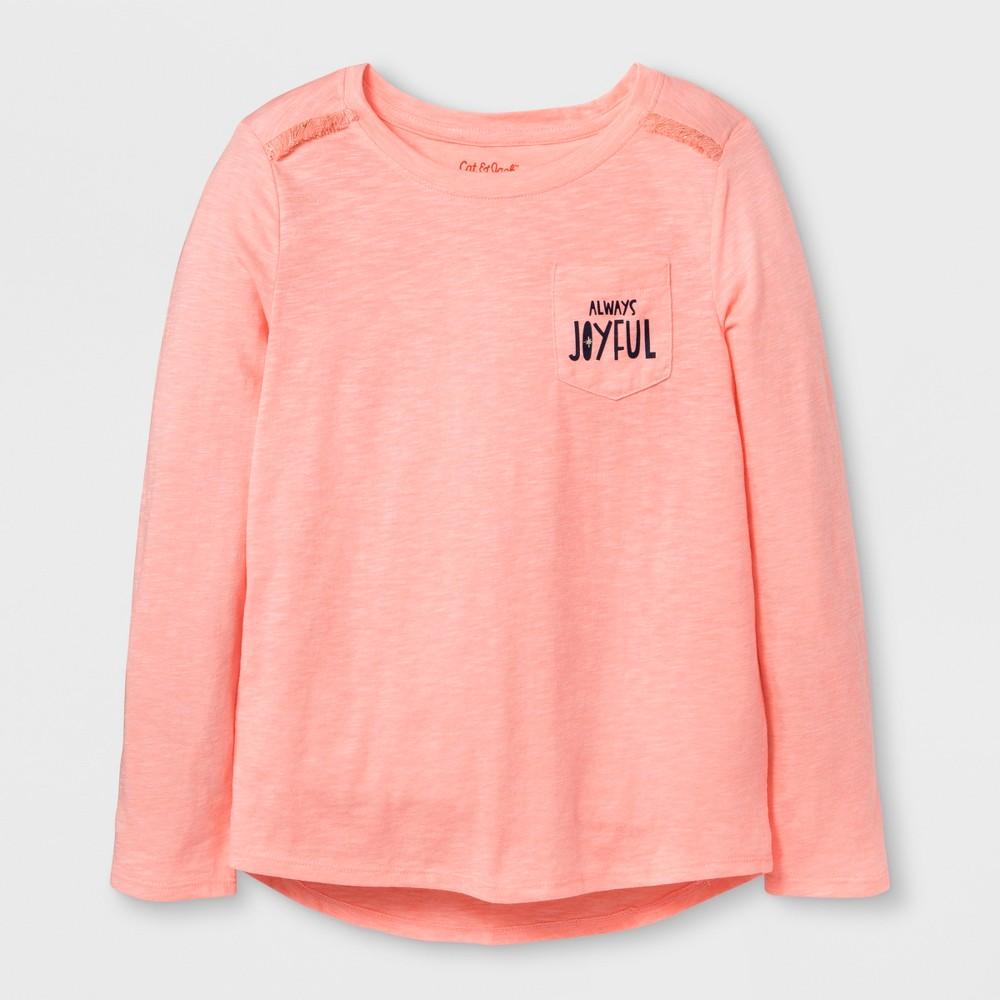Girls Long Sleeve Always Joyful Pocket T-Shirt - Cat & Jack Peach M, Orange