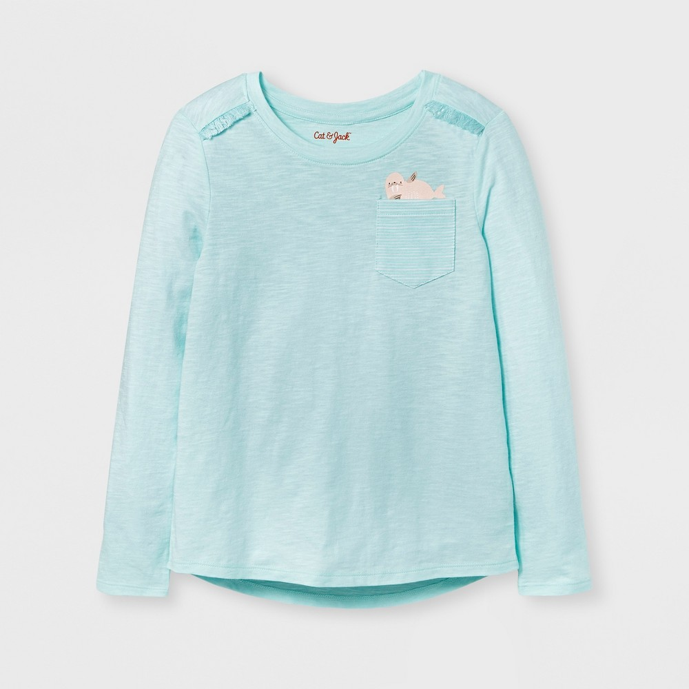 Girls Long Sleeve Walrus Print Pocket T-Shirt - Cat & Jack Aqua M, Green