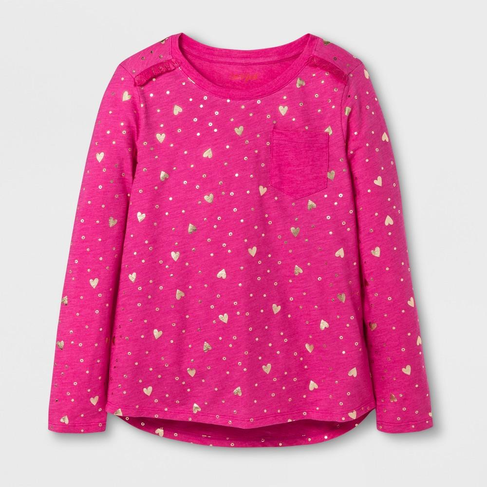Girls Long Sleeve Shine Hearts Pocket T-Shirt - Cat & Jack Pink/Gold L