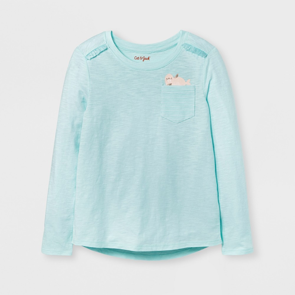 Girls Long Sleeve Walrus Print Pocket T-Shirt - Cat & Jack Aqua L, Green
