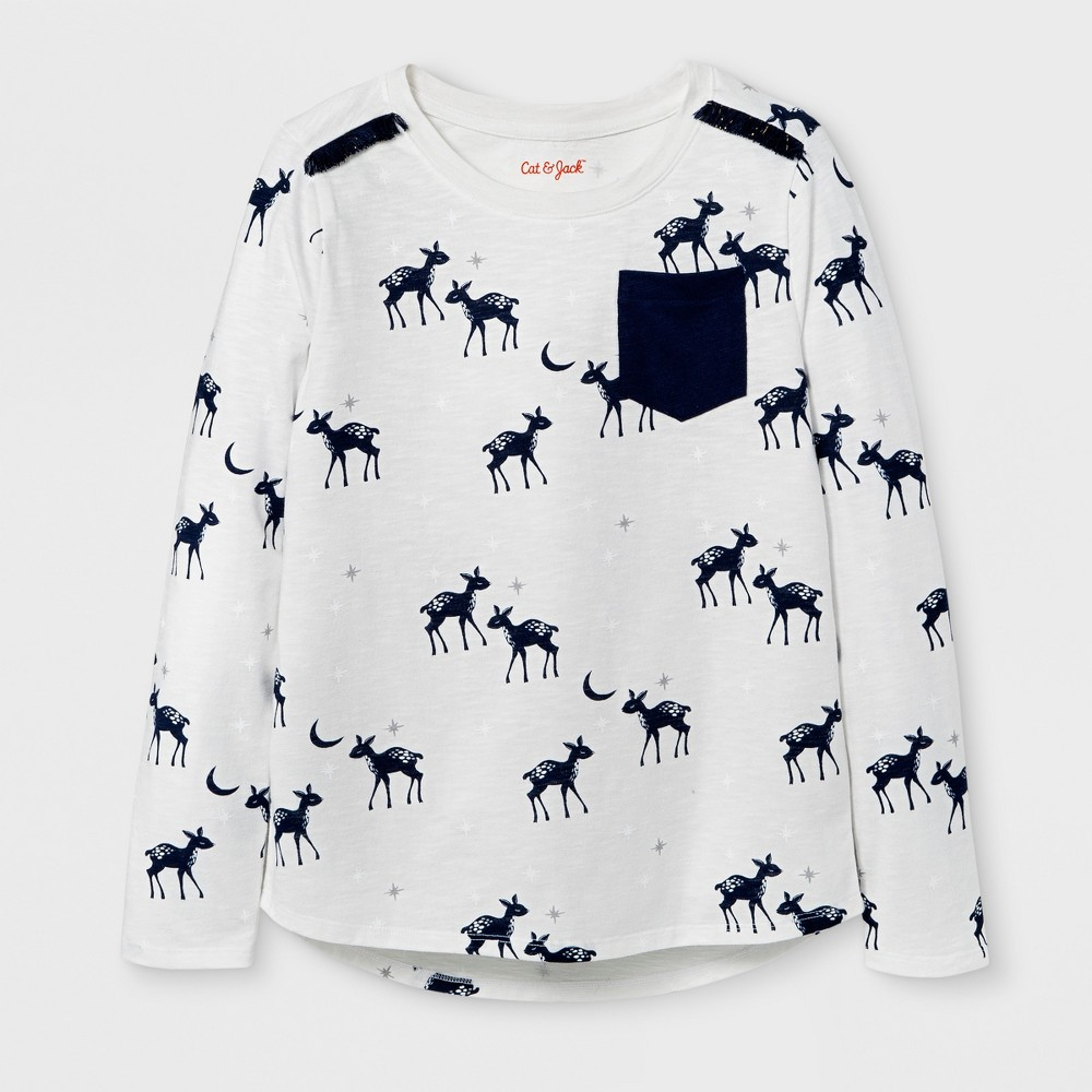 Girls Long Sleeve Deer Print Pocket T-Shirt - Cat & Jack Cream/Navy M, White