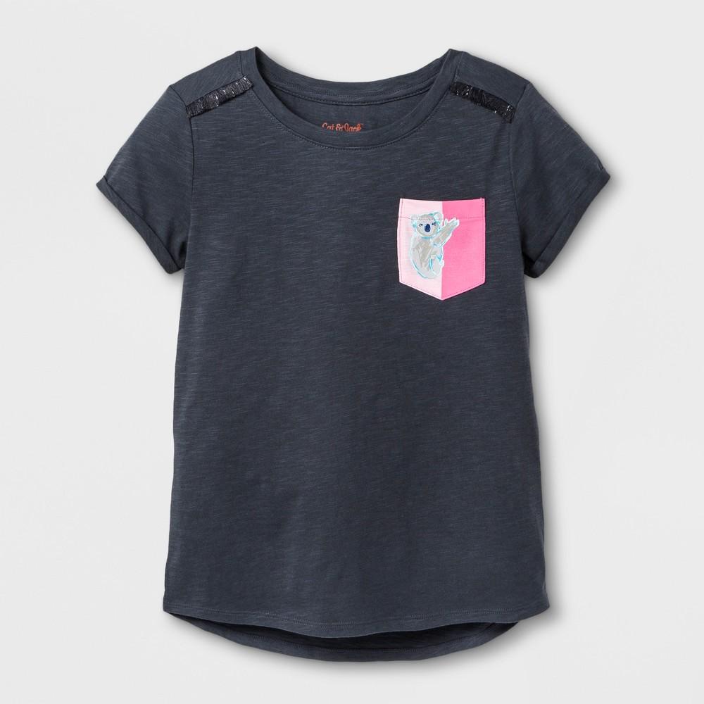 Girls Short Sleeve Koala Bear Print Pocket T-Shirt - Cat & Jack Gray L, Blue