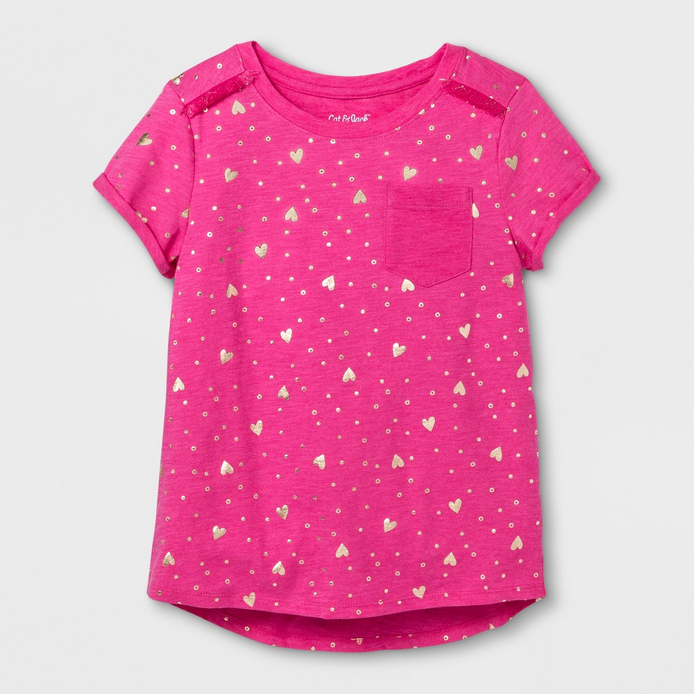 Girls Short Sleeve Shine Hearts Pocket T-Shirt - Cat & Jack Pink/Gold L