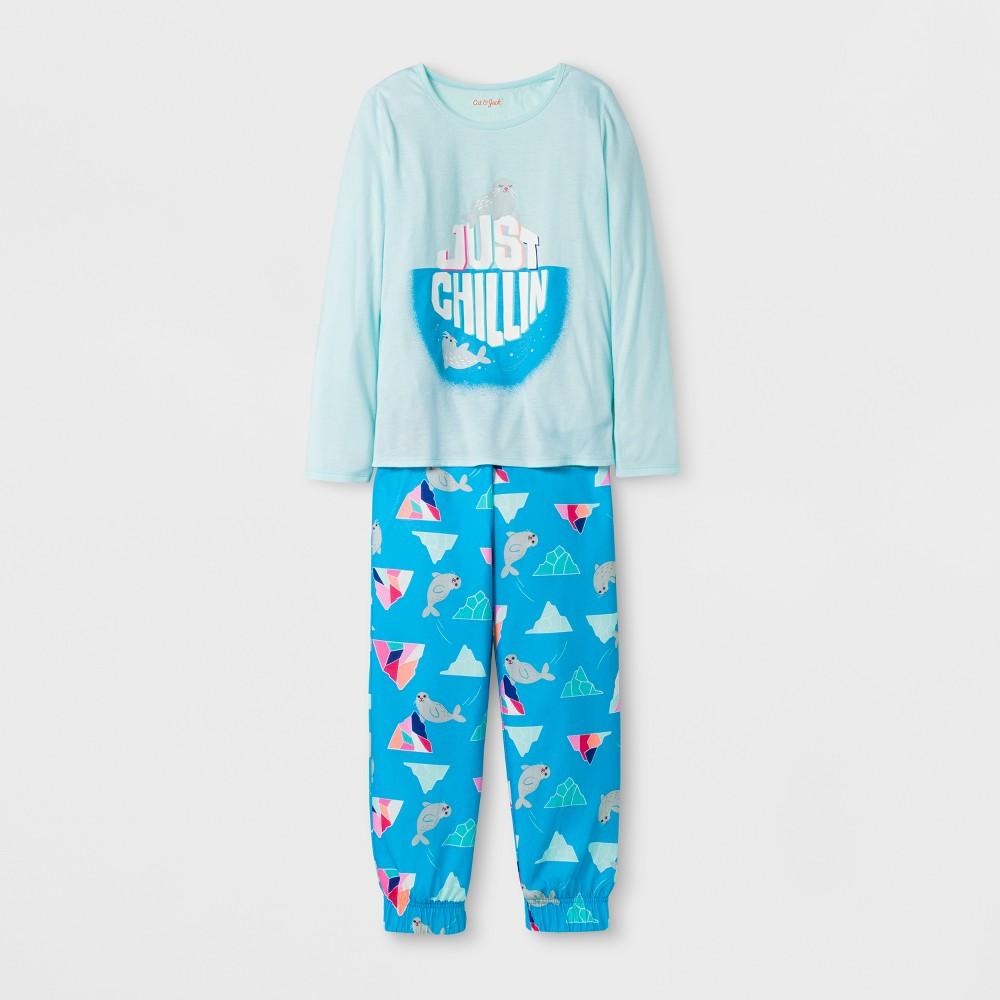 Girls Pajama Set - Cat & Jack Bleached Aqua XL, Green