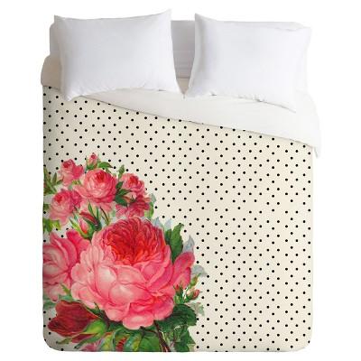 pink allyson johnson floral polka dots duvet cover set deny designs