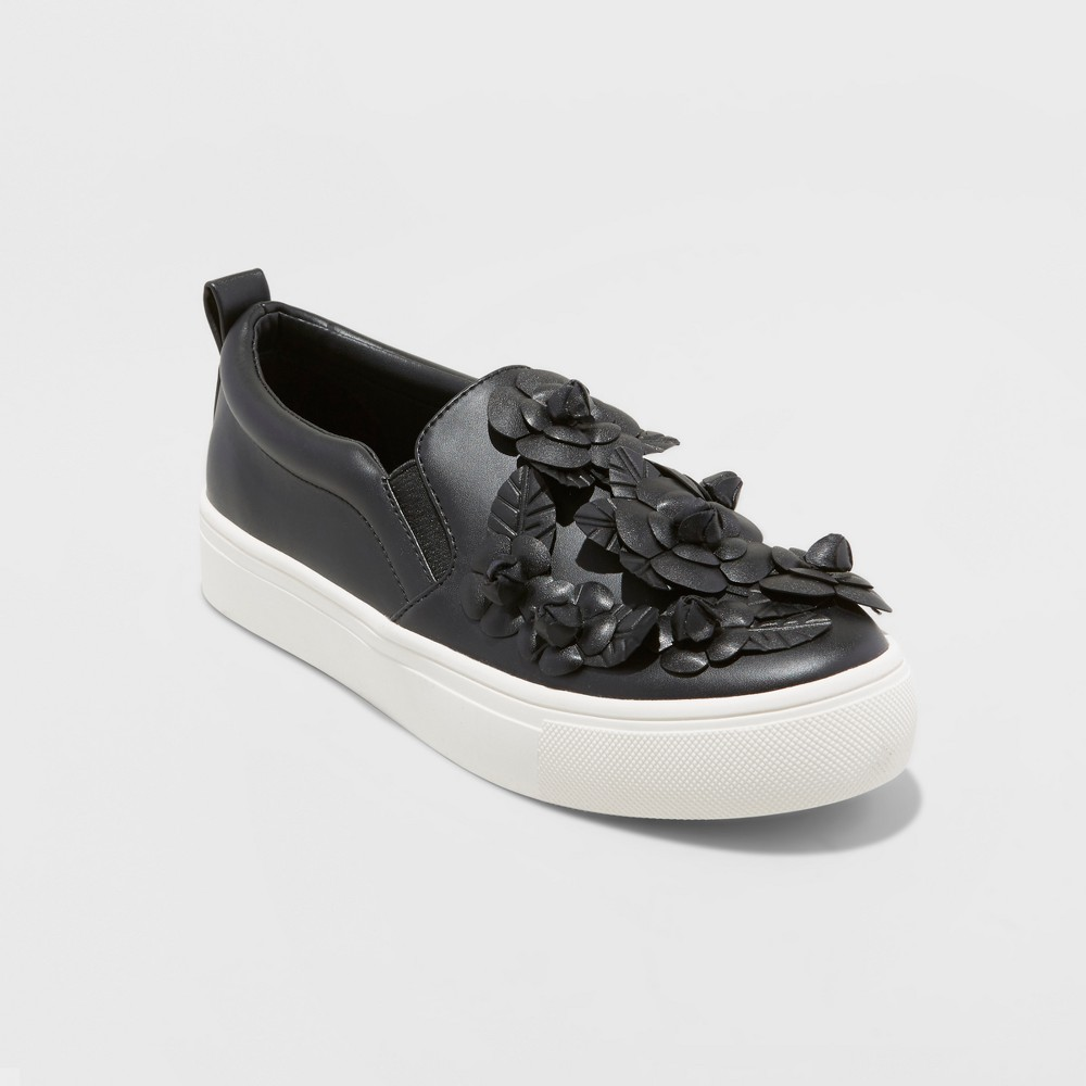 Women's Samara 3D Floral Twin Gore Sneakers - A New Day Black 8.5