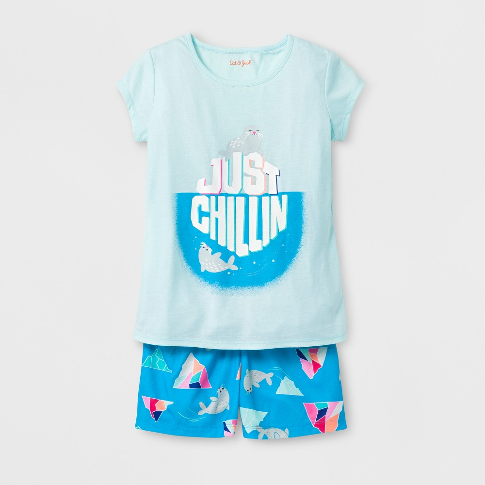 Girls Pajama Set - Cat & Jack Bleached Aqua XS, Green