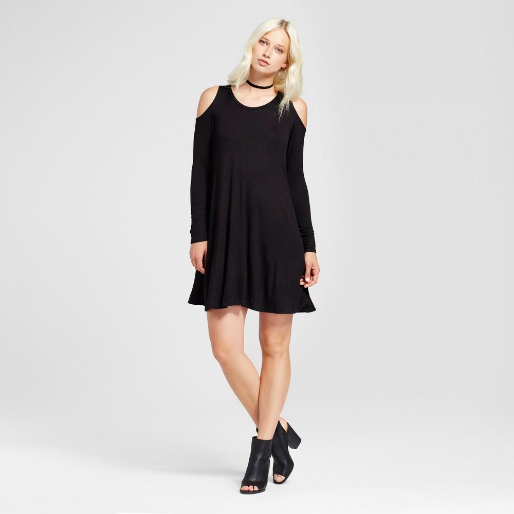 Womens Cold Shoulder Long Sleeve Shift Dress - Vanity Room Black S