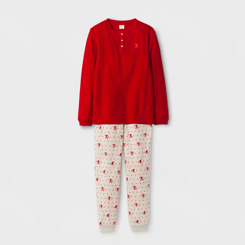 Boys 2pc Henley Set With Skier Print Pants Pajama Set - Cat & Jack Red XL