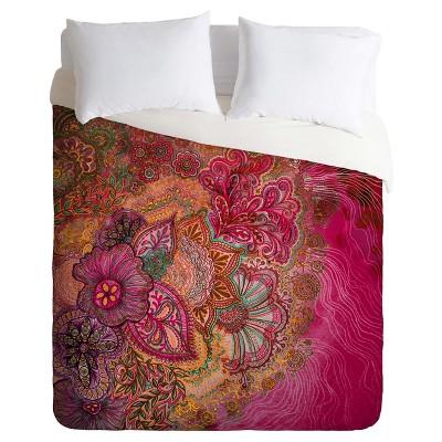 Pink Stephanie Corfee Flourish Berry Duvet Cover Set (King)- Deny Designs®