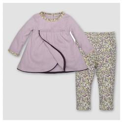 Burt's Bees Baby® Girls' Organic Petal Pointelle Dress & Pants Set - Purple