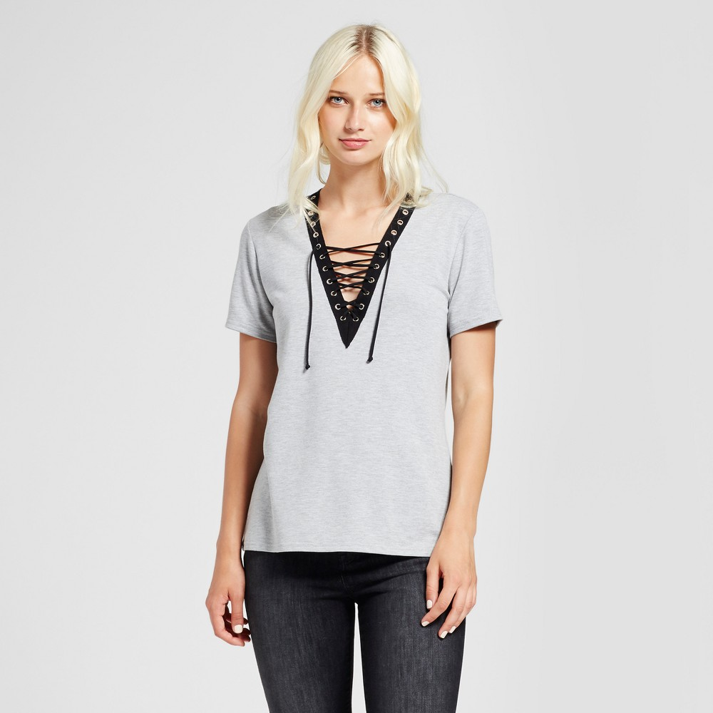 Womens Lace-Up Detail Knit T-Shirt - Vanity Room Gray XS