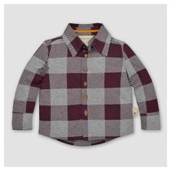 Burt's Bees Baby® Boys' Organic Buffalo Check Button Front Shirt - Maroon
