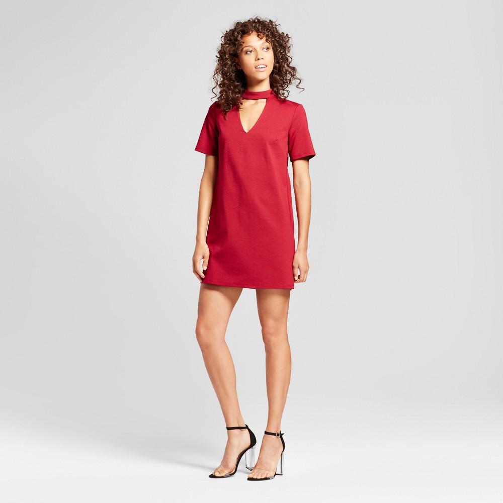 Womens Choker Neck Knit Dress - Vanity Room Red M