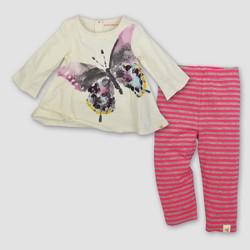 Burt's Bees Baby® Girls' Woodland  Butterfly Tunic & Leggings Set - Cream