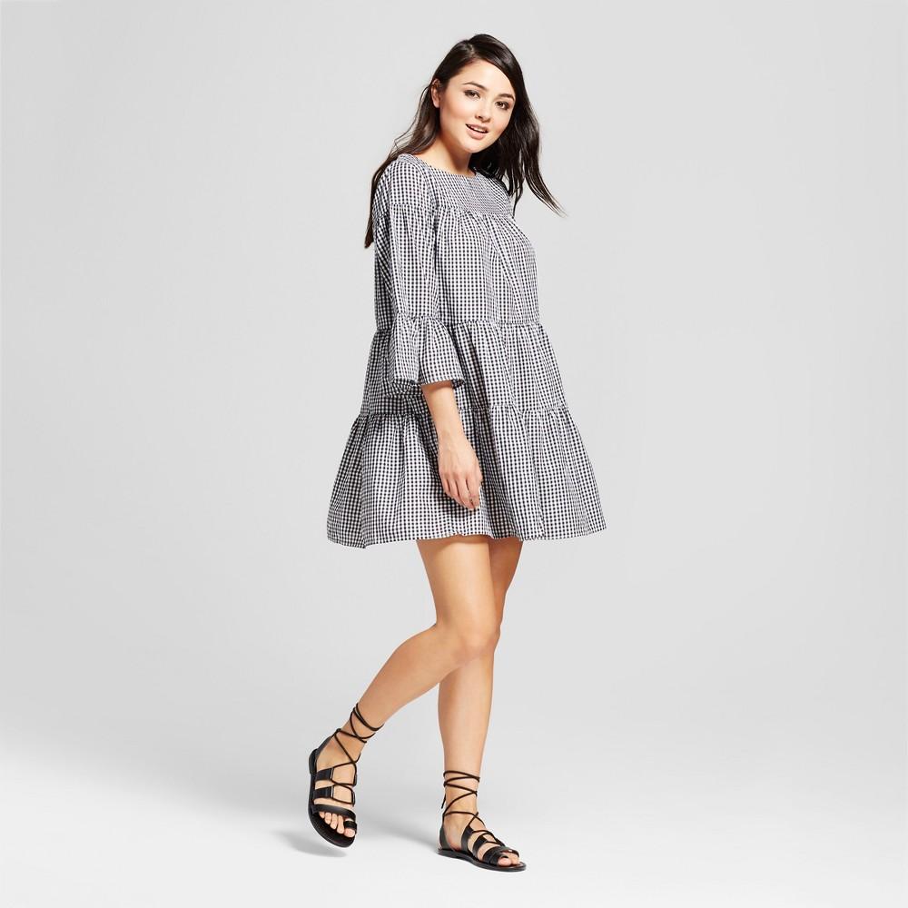 Womens Gingham Layered Shift Dress - K by Kersh Black/White L