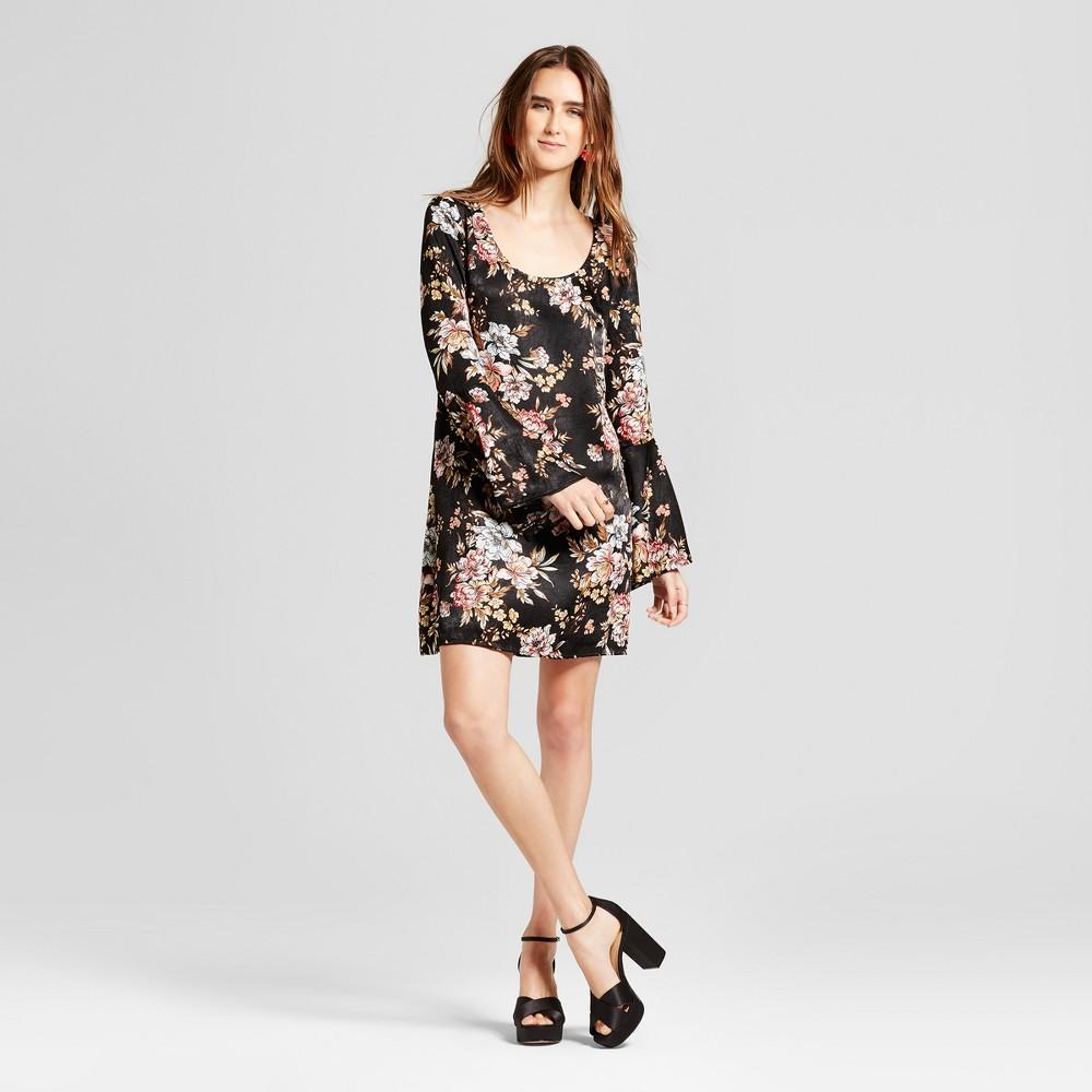 Womens Floral Woven Bell Sleeve Printed Dress - Vanity Room Black M