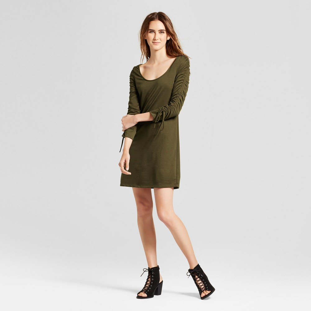 Womens Ruched Sleeve French Terry Dress - Vanity Room Olive L, Green